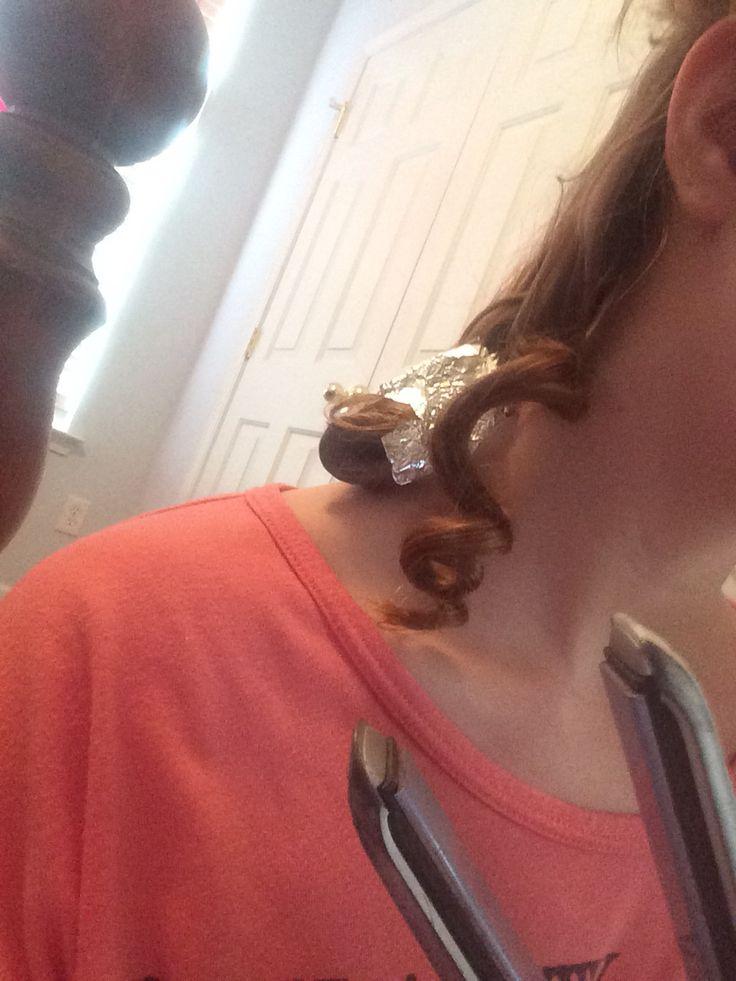 Tin foil curls: rap hair around fingers, put in tin foil, put straightener on tin foil