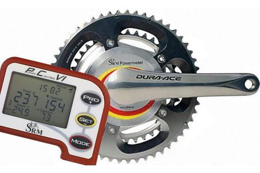 IMAGE: Cycling power meter A crank-based power meter as used by many competitive cyclists. Most competitive cyclists have a power meter and a bike computer. A sensor attached to the crank measures force. The bike computer calculates pedalling power by multiplying force and speed.