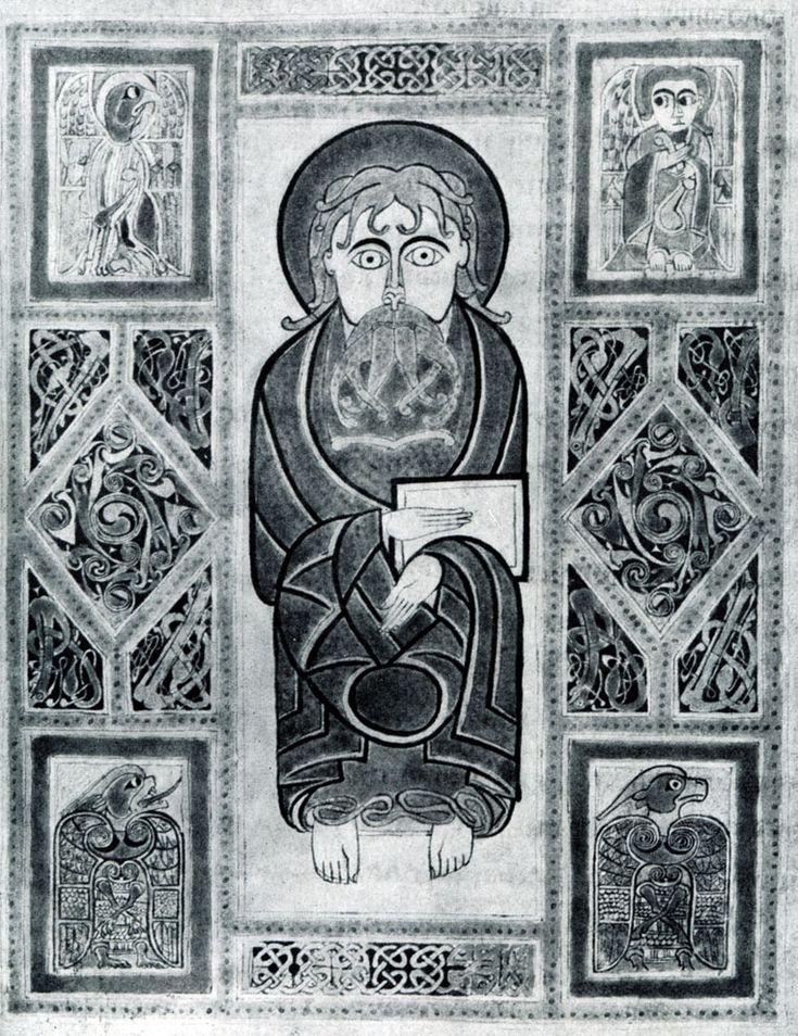 162.  Евагелист и  символы.  Миниатюра  Сент Галленского евангелия. 8 в.  Сент Галлен, библиотека.