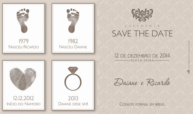 Save the Date para o casamento da Daiane e do Ricardo.