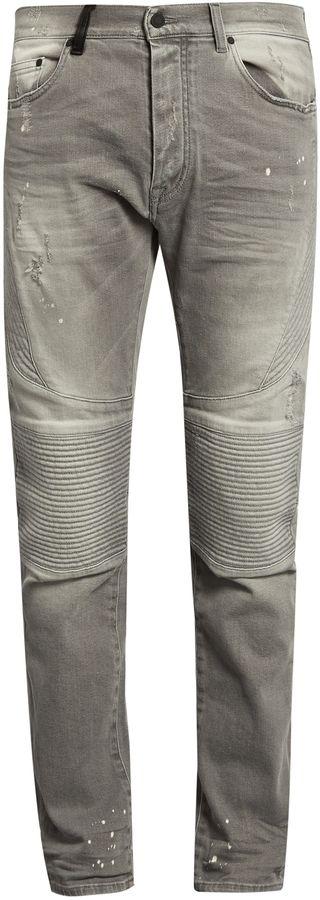MARCELO BURLON Slim-fit distressed biker jeans