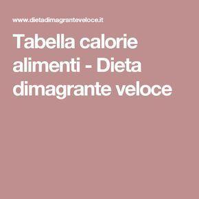 Tabella calorie alimenti - Dieta dimagrante veloce