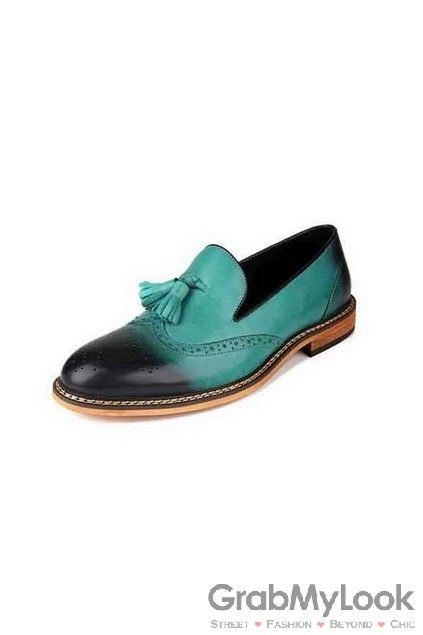 GrabMyLook  Green Mens Leather Vintage Old School Tassel Oxfords Loafers Shoes Flats