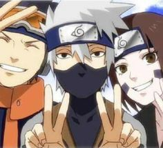 Naruto. Kakashi, Rin, and Obito. Whenever I rewatch the episode where Obito dies I always cry even though I know what happens.