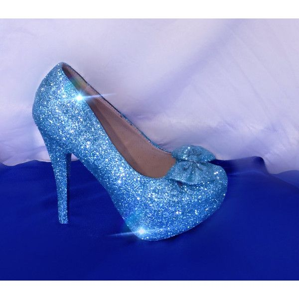 Women's Sparkly Glitter Cinderella Pumps Stilettos Girly Bow High or... ($110) ❤ liked on Polyvore featuring shoes, light purple, women's shoes, sparkle wedge shoes, tenny shoes, wedges shoes, low heel wedge shoes and wedge tennis shoes