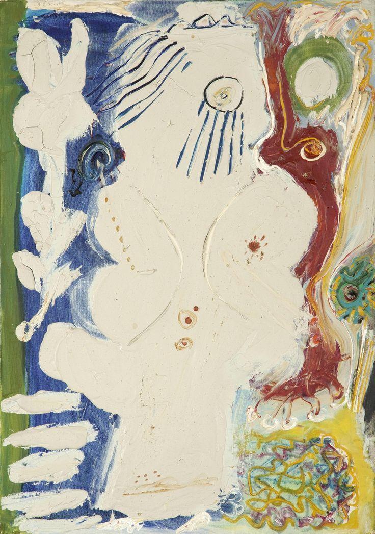 Alecos Fassianos (Greek, b. 1935), Child in the garden. Oil on canvas, 65.00 x 46.00 cm