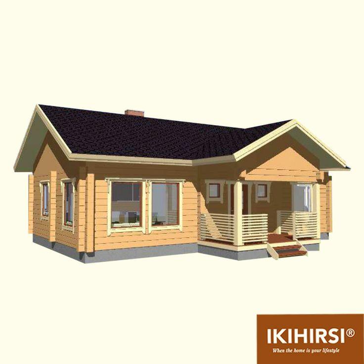 3D-проекция. #деревянныйдом #Ikihirsi. Больше проектов одноэтажных деревянных домов на http://www.ikihirsirussia.ru/iki-houses/iki-proekty-1-etazh.html