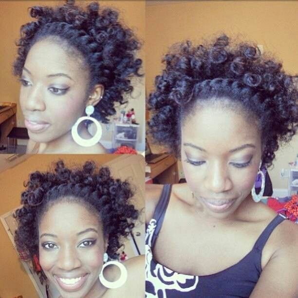 Bantu knot out with flat twist
