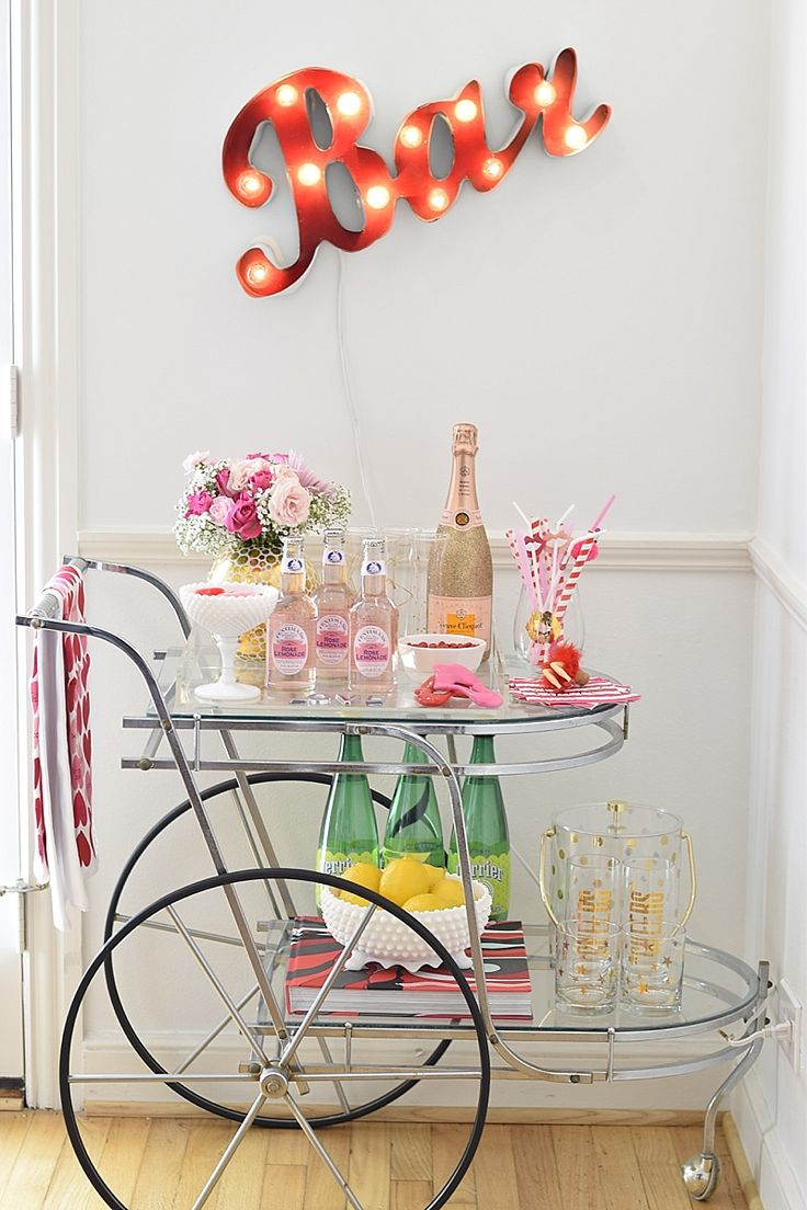 12434562824af1e500ee1ab1b1fb1671 bar cart decor home bar decor - Valentine's Day Bar Cart | MURPHY'S LAW