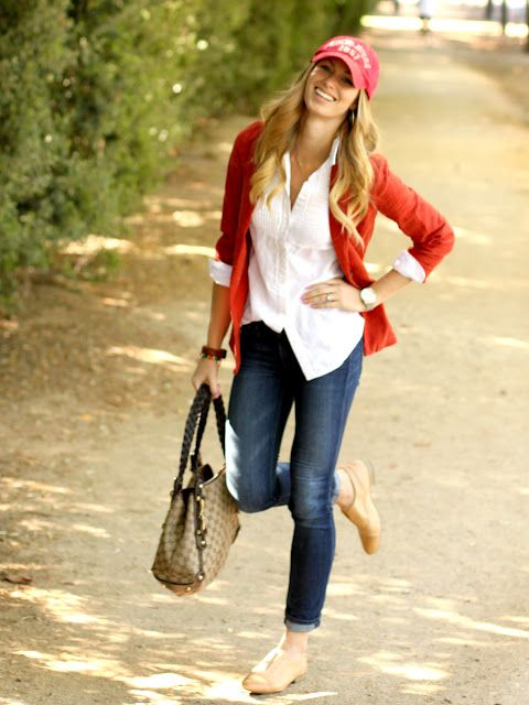 comfy cute: Fashion, Red Blazers, White Buttons, White Shirts, Autumn Style, Red Cardigans, Jeans, Fall Outfits, Classic White