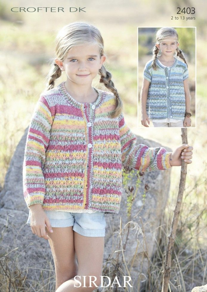 Sirdar 2403 Cardigans in Sirdar Crofter DK or equivalent. Uses Double Knitting #3 weight yarn. Sizes 2-3 years to 12-13 years.