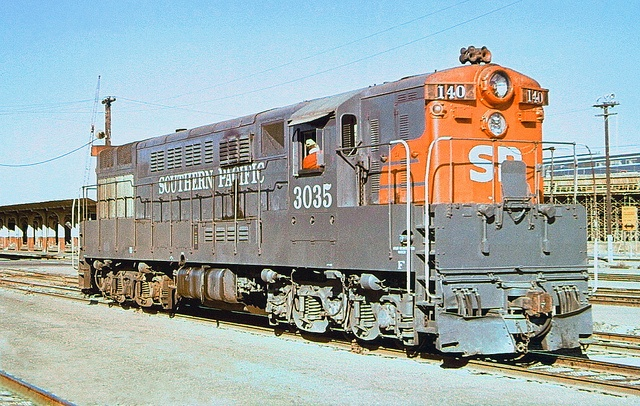 Southern Pacific FM H24-66 Train Master diesel electric locomotive # 3035, assigned to train # 140, is seen at the station platform area in San Francisco, California, August 1973