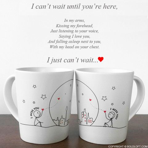 """I Miss Us Together! Wish you were here so I could tell you how hard every day and night has been without you!"" This coffee mug set is a soothing reminder from you to them that you're here, you'll alw"