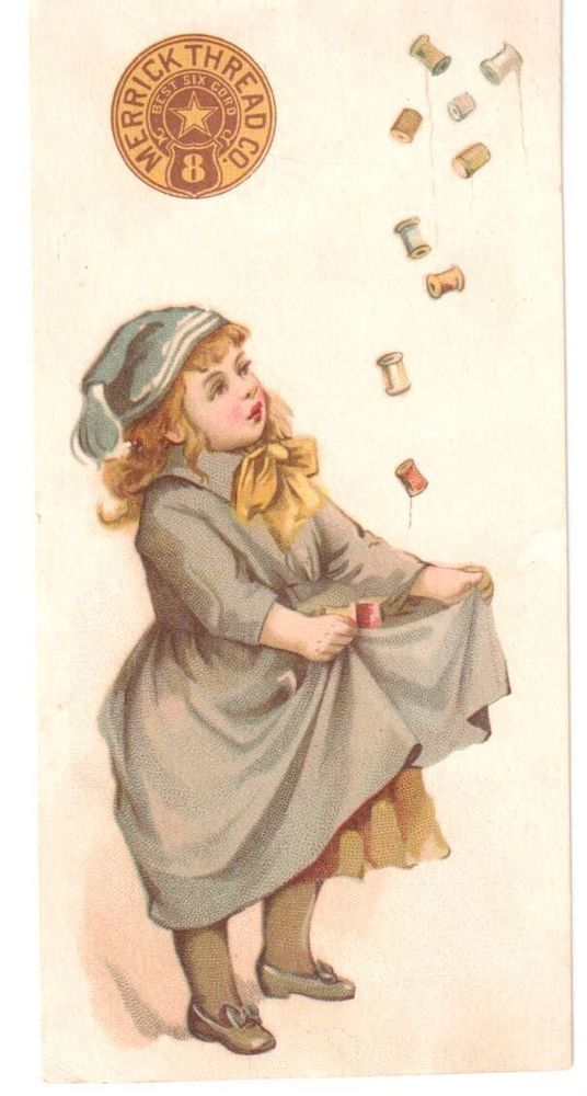 ANTIQUE BOOKMARK TRADE CARD MERRICK THREAD GIRL CATCHES SPOOLS WITH DRESS