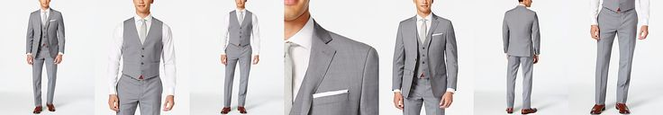 Calvin Klein X-Fit Grey Plaid Vested Extra Slim-Fit Suit