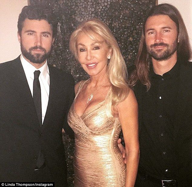 Linda Thompson 65 and son's Brody & Brandon Jenner. Linda was Bruce Jenner's 2nd wife, and also the girlfriend of Elvis Presley. She has been very supportive of Bruce becoming Caitlyn.