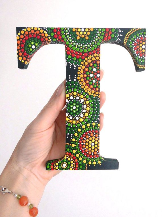 Wooden dot painted letter T by ArtAndBeing on Etsy