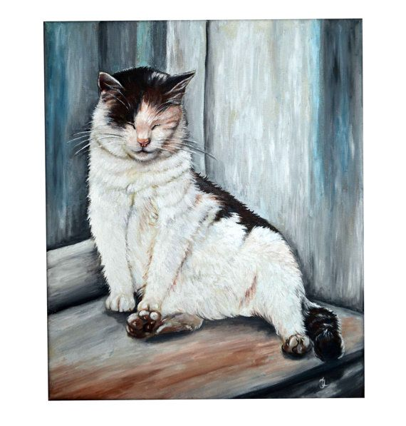 Original oil painting  Lazy Afternoon cat painting by JankaLart