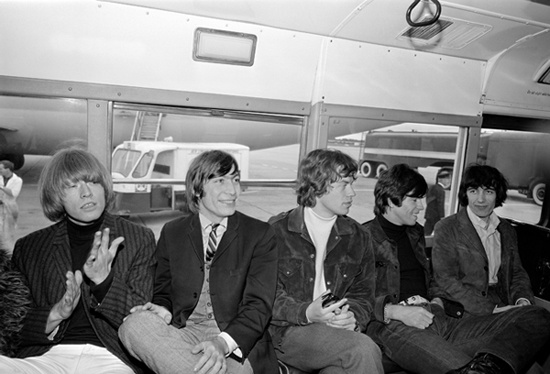 The Rolling Stones in an airport bus at Dublin Airport in 1965