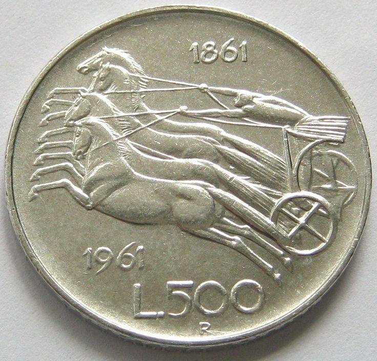 Italy, Silver Coin, 500 Lire 1961 R, Italian Unification Centennial !