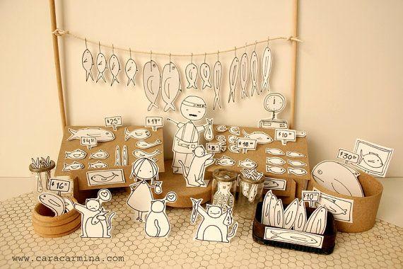 Fish Market - Photo print - Paper diorama