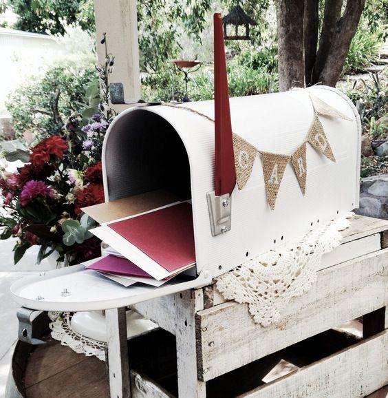 mail box wishing well / http://www.himisspuff.com/mailbox-wedding-decor-ideas/2/
