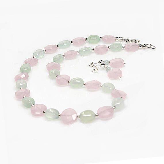Rose Quartz Gemstone Necklace Bonus Earrings Pink Green