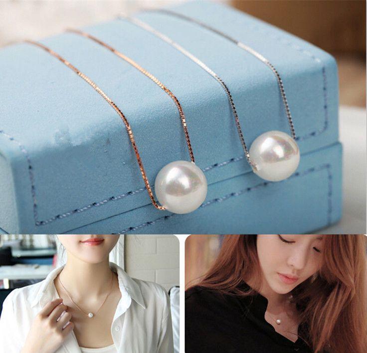 Elegant Single Pearls Gold/Silver Chain Necklace Bib Choker Statement Collar