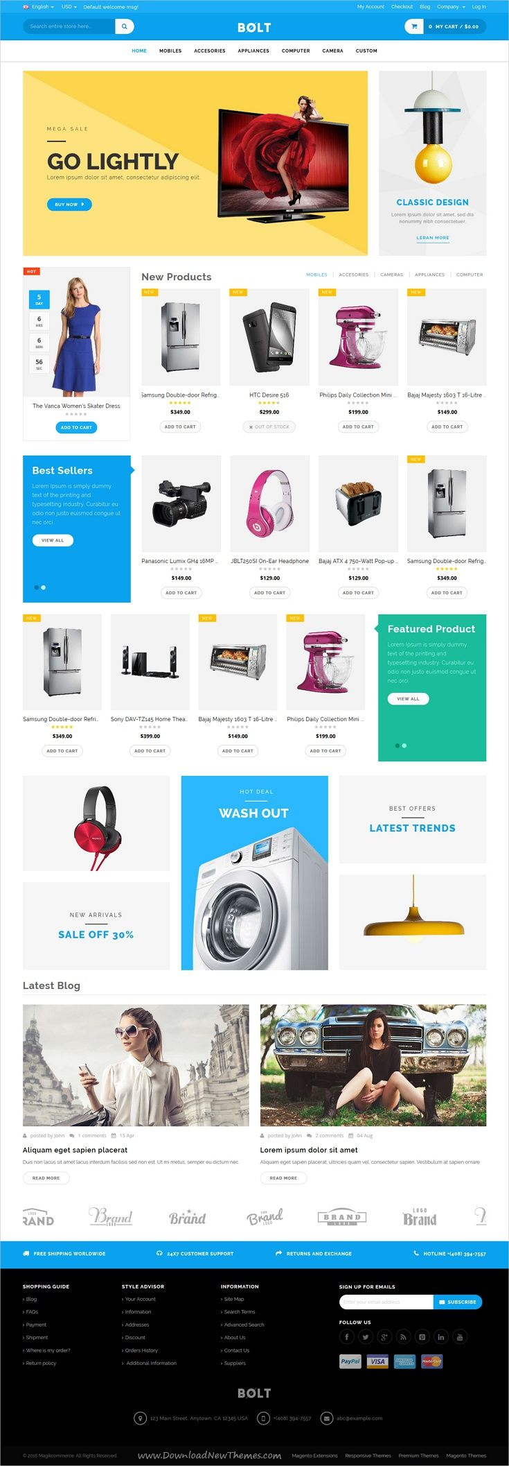 Bolt is a clean, modern and highly customizable responsive #Magento theme for stunning #electronics store #eCommerce website with 3 unique homepage layouts download now➩ https://themeforest.net/item/bolt-responsive-magento-theme/19460327?ref=Datasata
