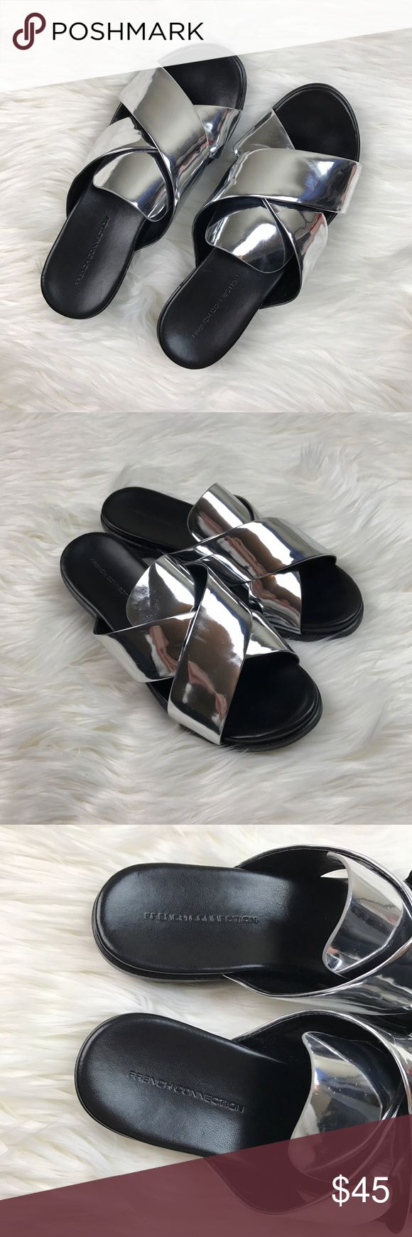 """French Connection Basia Metallic Silver Sandals Amazing sandals for upcoming spring and summer. Slip on style. Silver shiny metallic color. """"Basia"""" style. Gently used with no flaws! French Connection Shoes"""