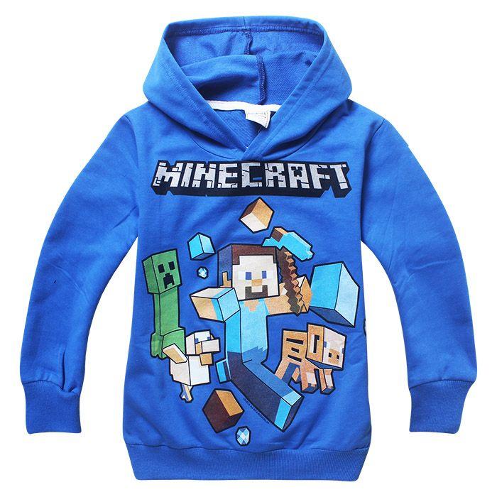 Детский реглан Майнкрафт с капюшоном, голубого цвета