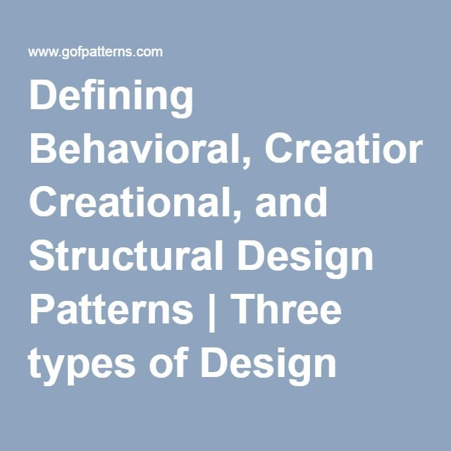 Defining Behavioral, Creational, and Structural Design Patterns | Three types of Design Patterns in GoF
