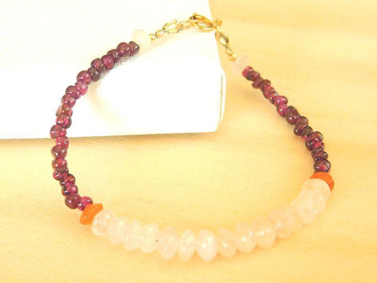 Gemstone Bracelet, Beaded Bracelet, Garnet, Rose Quartz, Carnelian, Delicate Bracelet by jljewellerydesign on Etsy