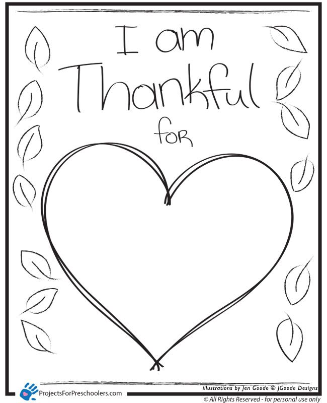 Coloring Pages Turkeys Preschool : I am thankful heart coloring page preschool activities