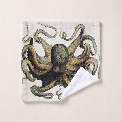 Vintage Octopus Print Bathroom Towel Set - home decor design art diy cyo custom
