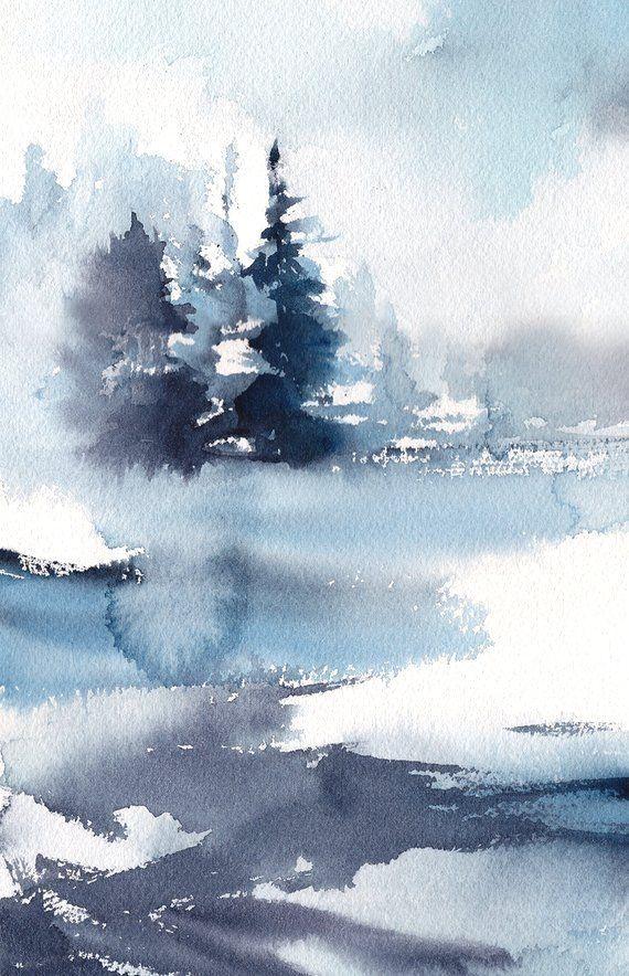 Blaue Abstrakte Landschaftsursprungliche Aquarell Malerei