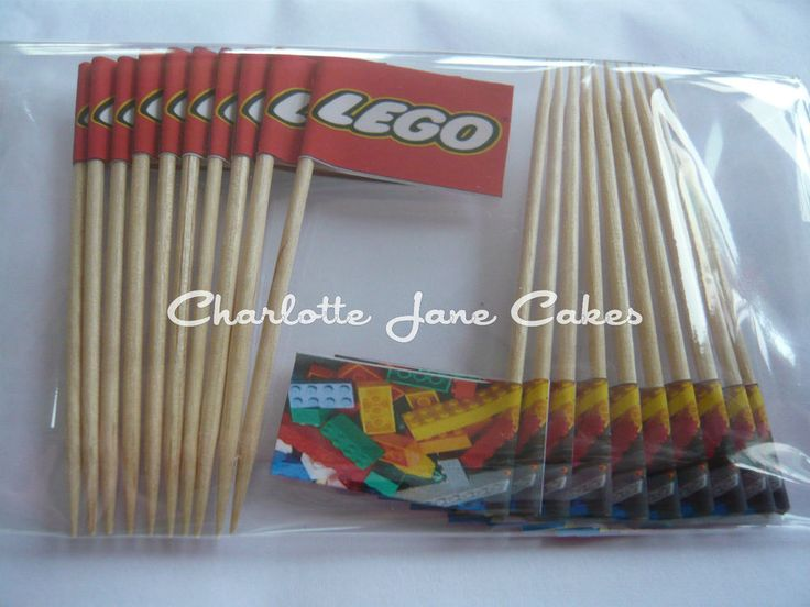 20 CUPCAKE FLAGS/TOPPERS - LEGO CHILDRENS BIRTHDAY PARTY