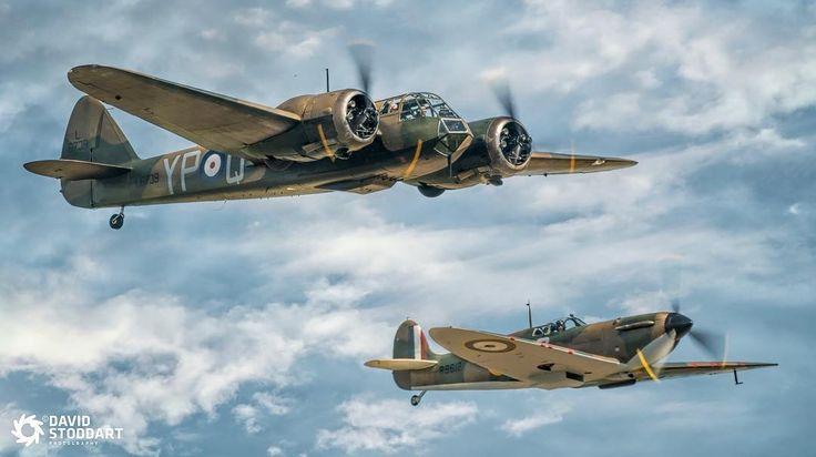 Bristol Blenheim MKI G-BPIV and Spitfire MkI R9612 at Flying Legends 2017. #battleofbritain #planespotting #planeporn #excellentaviation #aviationphotography #airshow2017 #duxfordairshow #flyinglegends #warbirds #ww2plane #ww2history #propblur #planesofinstagram #iconic