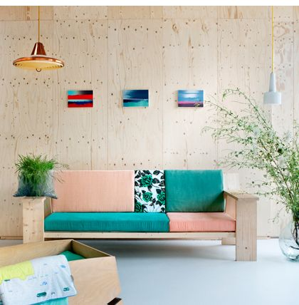 Kidsonroof - Dutch design for creative and playful kids and grownups - I love the couch and the colors: wood, turquoise, peach, green ...