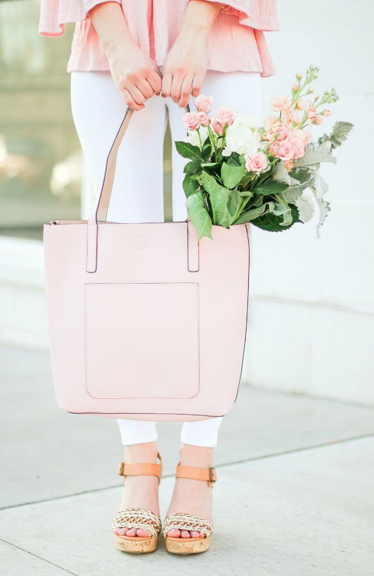 e60b0f0b7eec66 Pink and tan Time and Tru reversible Leigh tote styled with Time and Tru  white jeggings and MoMo wedges! Everything in this spring outfit is super  ...