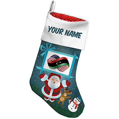 Christmas Stocking Infinity Flags USA and Libya Xmas night NEONBLOND *** Check out this great product. #XmasStockingsHolders
