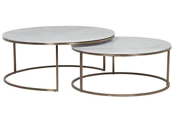 Ellen Middleton $2760 Elle Round Marble Nest Coffee Tables