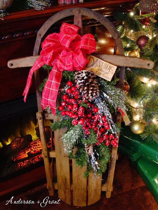 25 best ideas about sled decor on pinterest christmas for Antique sled christmas decoration