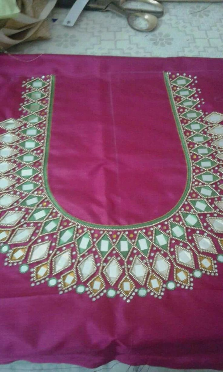 214a005d4adb11 Mirror Work Blouse Designs In Pinterest