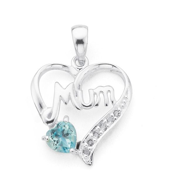 Silver Blue Topaz Mum Heart Pendant