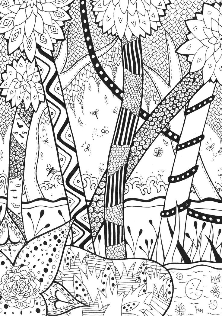 Trees Coloring Page Adults Zen