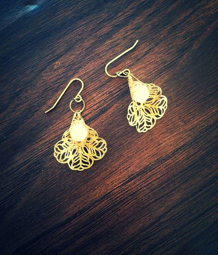"""""""Lilyana"""" brass filigree earrings by InspiredCPH"""