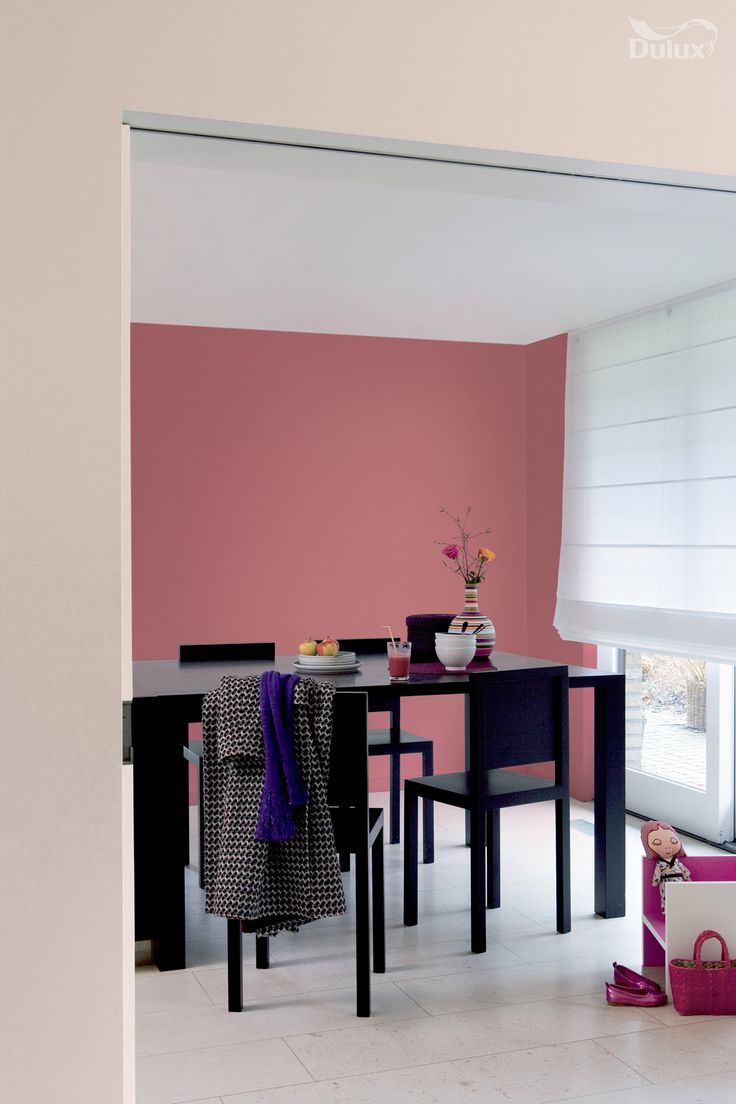 A strong pink can be grounded and mellowed by a warm for Warm neutral paint colors for dining room