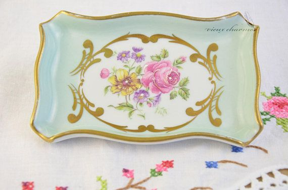 Hand painted french porcelain trinket dish