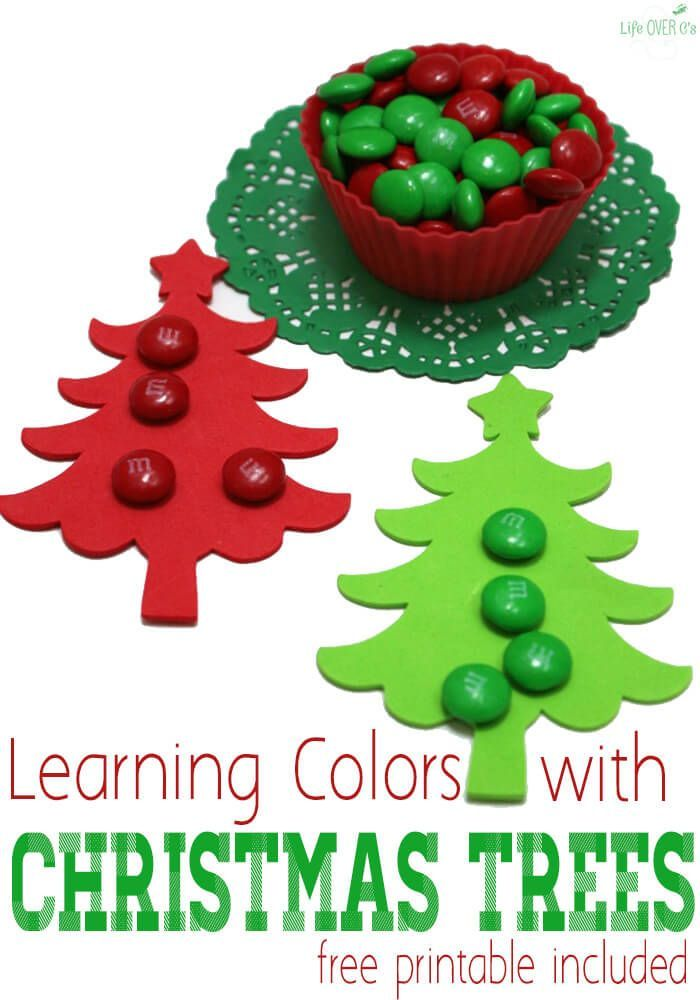 Your preschooler will love learning colors with Christmas trees (and candy!) A couple fun activities to include in your Christmas themed lessons.